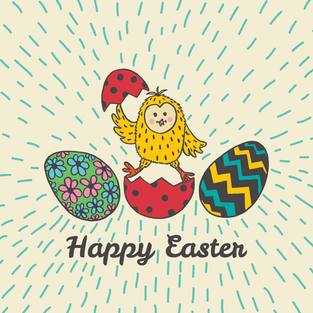 Happy Easter card with chick and eggs. Vector illustration of Easter ornamental card with chick on beige background.