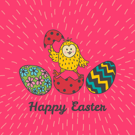 Happy Easter card with chick and eggs. Vector illustration of Easter ornamental card with chick on red background. Illustration