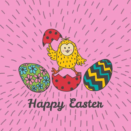 Fröhliche Ostern-Karte mit Küken und Eiern. Vektor-Illustration von Ostern ornamentale Karte mit Küken auf rosa Hintergrund. Standard-Bild - 63520526