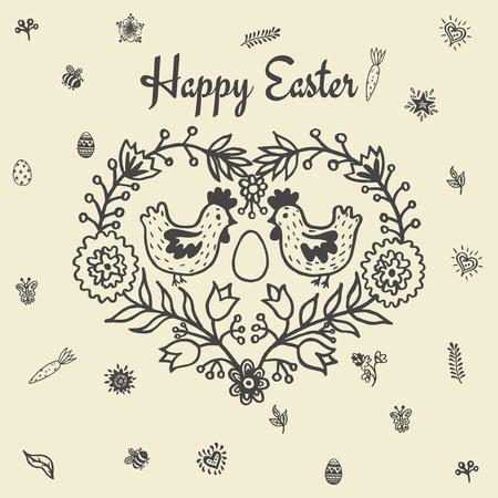 Frohe Ostern Karte mit Hühner und Ei. Vektor-Illustration von Ostern Zier-Karte mit Huhn auf beige Hintergrund. Standard-Bild - 63520530