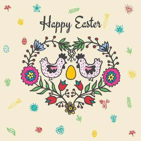 Frohe Ostern Karte mit Hühner und Ei. Vektor-Illustration von Ostern Zier-Karte mit Huhn auf beige Hintergrund. Standard-Bild - 63520528