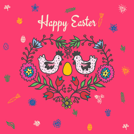 Happy Easter card with chickens and egg. Vector illustration of Easter ornamental card with chicken on red background.
