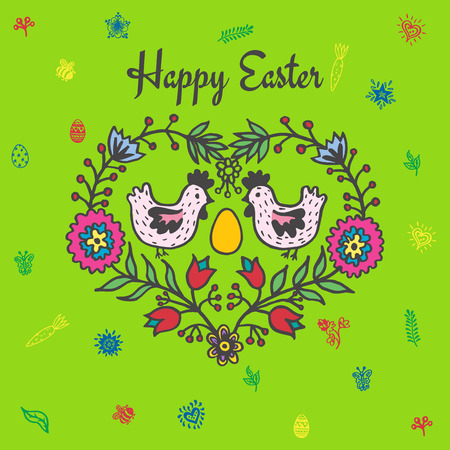 Happy Easter card with chickens and egg. Vector illustration of Easter ornamental card with chicken on green background.