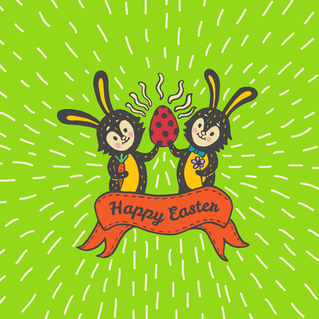 Happy Easter card with rabbits and egg. Vector illustration of Easter ornamental card with Bunny on green background.