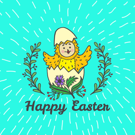 Happy Easter card with chick and egg. Vector illustration of Easter ornamental card with chick on blue background. Illustration