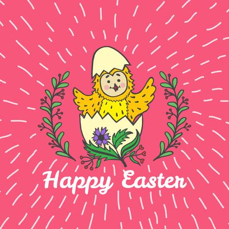 Frohe Ostern Karte mit Küken und Ei. Vektor-Illustration von Ostern Zier-Karte mit Küken auf rotem Hintergrund. Standard-Bild - 63520695
