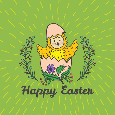 Fröhliche Osterkarte mit Küken und Ei. Vektor-Illustration von Ostern ornamentale Karte mit Küken auf grünem Hintergrund. Standard-Bild - 63520698