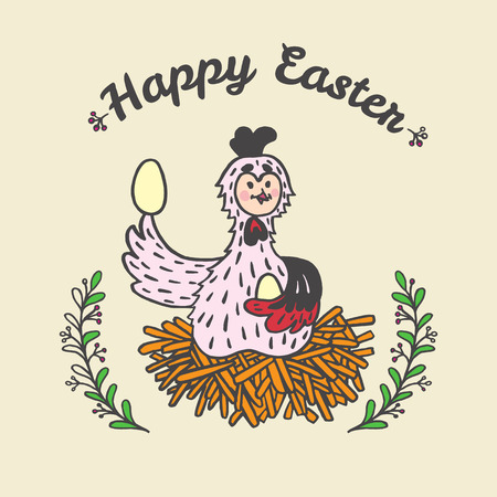 Happy Easter card with chicken and eggs. Vector illustration of Easter ornamental card with chicken on beige background. Illustration