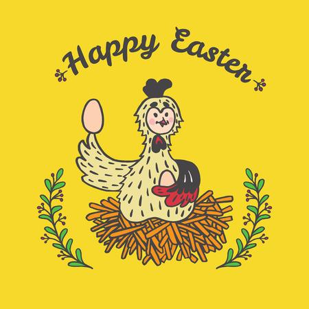 Frohe Ostern Karte mit Huhn und Eiern. Vektor-Illustration von Ostern Zier-Karte mit Huhn auf gelbem Hintergrund. Standard-Bild - 63520709