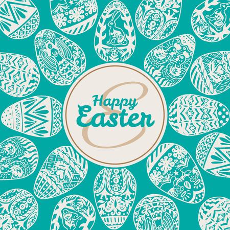 Tarjeta de Pascua con huevos en el fondo de la vendimia. Ilustración vectorial de los huevos de tarjetas ornamentales en backgeound azul.