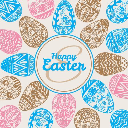Tarjeta de Pascua con huevos en el fondo de la vendimia. Ilustración vectorial de los huevos de tarjetas ornamentales en backgeound beige.