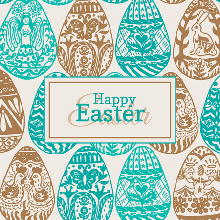 Easter card with eggs on vintage background. Vector illustration of Eggs ornamental card on beige backgeound.