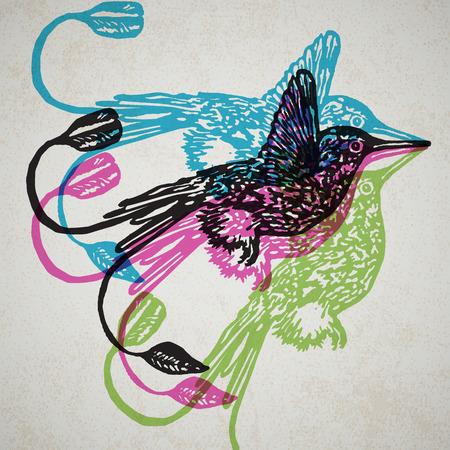 Linocut tropical Hummingbird birds on background. Vector Illustrated Hummingbirds.