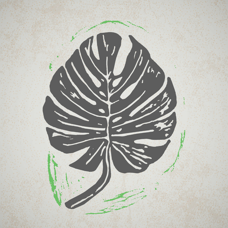 liana: Linocut tropical Monstera leaves on background. Vector Illustrated tropical plants leaves.