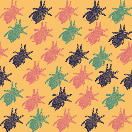 tarantula: Linocut Tarantula background. Vector Illustrated Tarantula spiders seamless pattern. Illustration