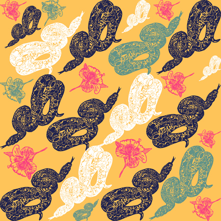 anaconda: Linocut tropical Boa Constrictor snake background. Vector Illustrated tropical Boa Constrictor snake seamless pattern. Illustration