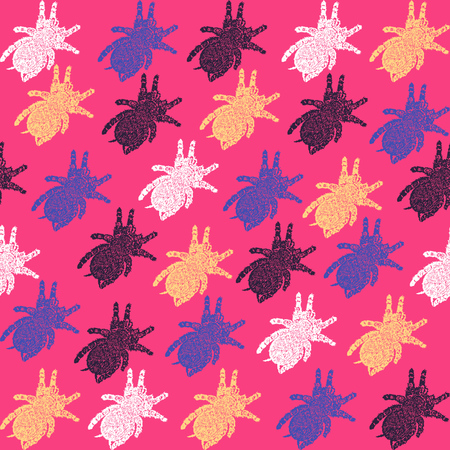 Linocut Tarantula background. Vector Illustrated Tarantula spiders seamless pattern. Illustration