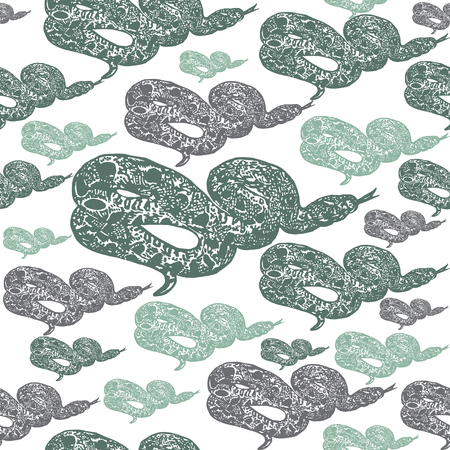 biggest animal: Linocut tropical Boa Constrictor snake background. Vector Illustrated tropical Boa Constrictor snake seamless pattern. Illustration
