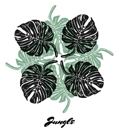 linocut: Jungle mood engraved fractal outlet composition. Bright colored composition with Jungle flora. Vector Illustration.