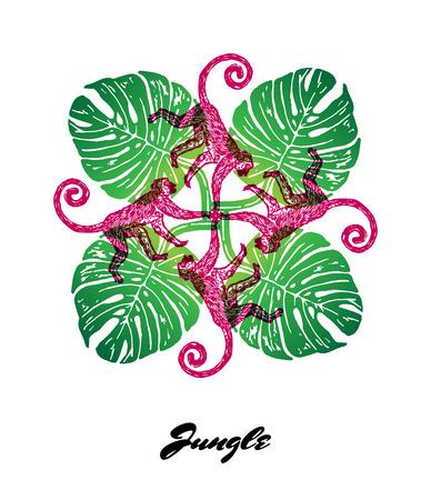El estado de ánimo de la selva grabado composición de salida fractal. Composición de colores brillantes con la fauna y flora de la selva. Ilustración del vector. Foto de archivo - 63523461