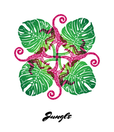 Jungle mood engraved fractal outlet composition. Bright colored composition with Jungle fauna and flora. Vector Illustration. 向量圖像