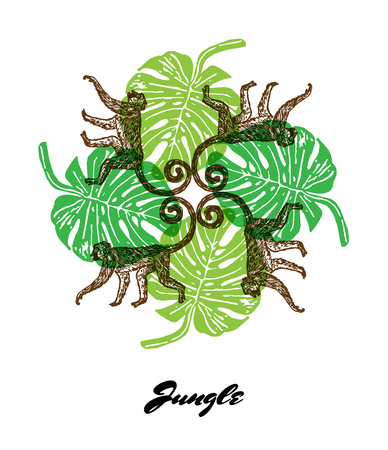 fauna: Jungle mood engraved fractal outlet composition. Bright colored composition with Jungle fauna and flora. Vector Illustration. Illustration