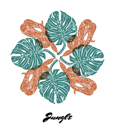 Jungle mood engraved fractal outlet composition. Bright colored composition with Jungle fauna and flora. Vector Illustration. Illustration