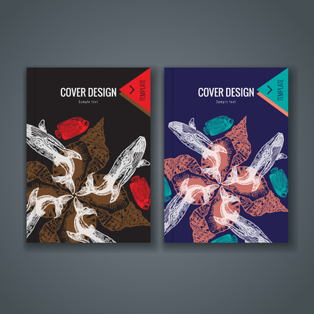 Brochure template layout, cover design of annual report, book, magazine, flyer or booklet with animal and floral pattern on dark background. Vector Illustration.