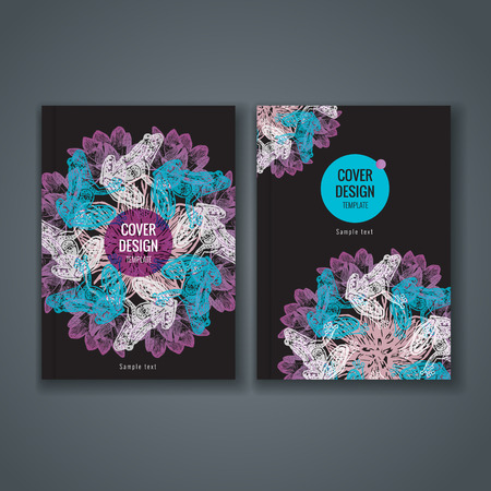 magazine design: Brochure template layout, cover design of annual report, book, magazine, flyer or booklet with animal and floral pattern on dark background. Vector Illustration.