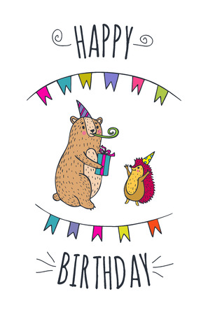 postcard box: Happy birthday card. Vector illustrated poster with bear and hedgehog characters.