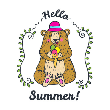 hi hat: Hello Summer card. Vector illustrated poster with bear character and ice cream.