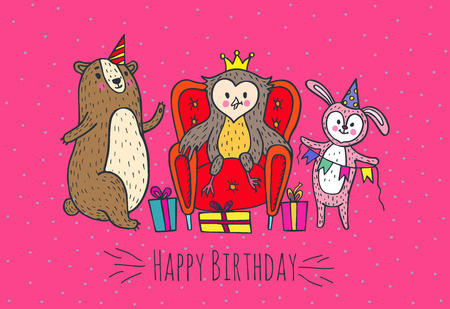 Happy birthday card. Vector illustrated poster with owl, bear and rabbit characters. Illustration