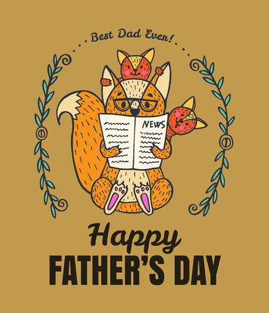 Fathers Day card. Vector illustrated card with fox character family.