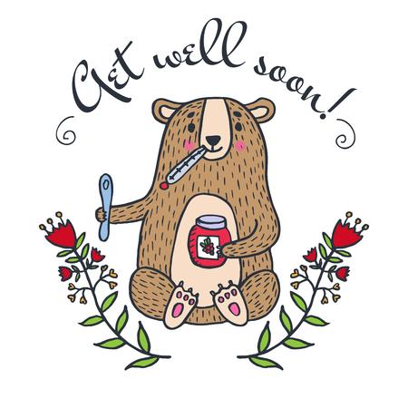 Get well soon kaart met teddy beer en jam. Vector geïllustreerd kaart. Stock Illustratie