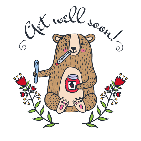 Get well soon kaart met teddy beer en jam. Vector geïllustreerd kaart.