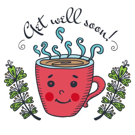 Get well soon card met een kopje thee. Vector geïllustreerd kaart.