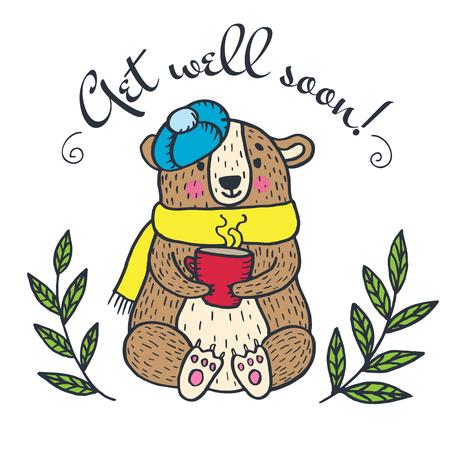 Erhalten Sie gut bald Karte mit Teddybären. Vector illustrierte Karte. Standard-Bild - 64253273