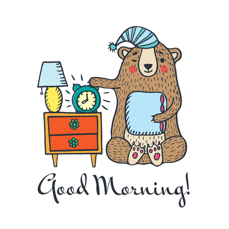 Good morning card with teddy bear. Vector illustration card. Illustration