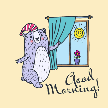 good day: Have a good day greeting card. Vector illustration card with teddy bear and window