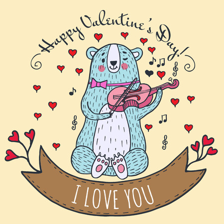 Greeting card for Valentines Day with teddy bear and violin. Vector Illustrated card. Illustration