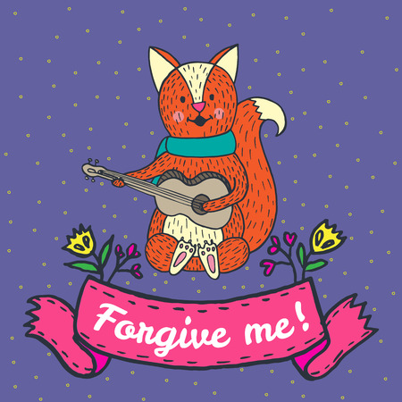 forgiveness: Forgiveness card with fox. Vector illustrated card.