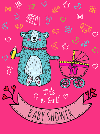 Baby shower invitation card with bear mother. Vector Illustrated card. Illustration