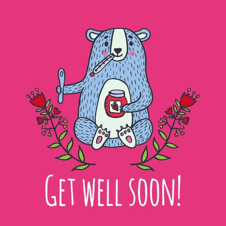 Get well soon card with teddy bear and jam. Vector illustrated card. 일러스트