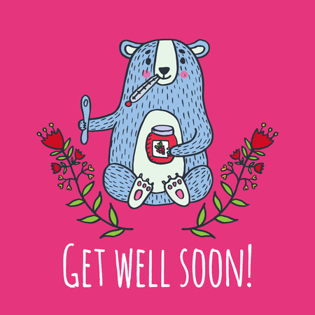 Get well soon card with teddy bear and jam. Vector illustrated card. Stock Illustratie