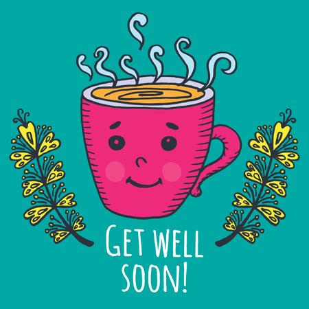 Get well soon card met een kopje thee. Vector geïllustreerd kaart. Vector Illustratie