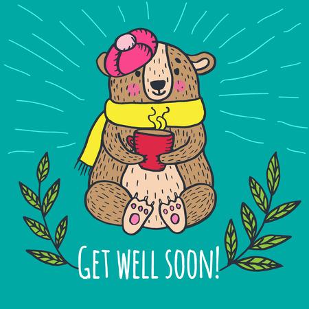 Get well soon card with teddy bear. Vector illustrated card.