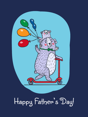 happy fathers day card: Happy Fathers day card with bear dad and child on Kick scooter. Vector illustrated card. Illustration