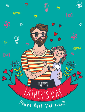 best wishes: Happy Fathers day card with dad and daughter. Vector illustrated card.