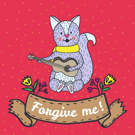 caes: tarjeta de perdón con el zorro. Vector ilustrado tarjeta.