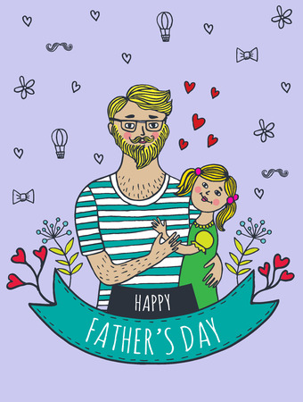 happy fathers day card: Happy Fathers day card with dad and daughter. Vector illustrated card.